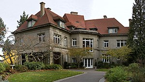 Pittock Mansion - The mansion's west façade, location of the main entrance
