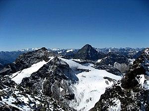 Silvretta Alps - Piz Fliana and Piz Linard from Piz Buin