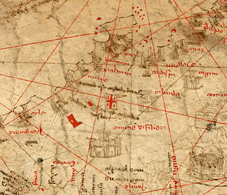 Flag of Georgia (country) - Detail of the 1367 Pizzigano chart, showing Tbilisi and its flag