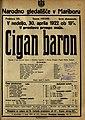 Plakat za predstavo Cigan baron v Narodnem gledališču v Mariboru 30. aprila 1922.jpg