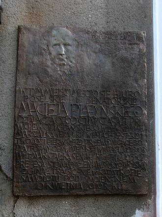 Maciej Płażyński - Plaque to Maciej Płażyński commemorating on the wall of his former parliamentary office in Gdańsk.