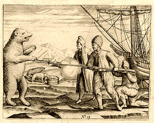 Willem Barentsz - Crew of Willem Barentsz fighting a polar bear