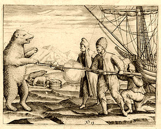 Willem Barentsz - Crew of Willem Barentsz fighting a polar bear