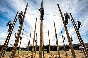Southeast Lineman Training Center - Students around pole circle at Southeast Lineman Training Center in Trenton, GA.
