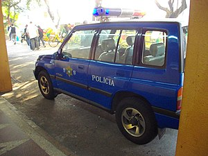 Public Security Police Force of Macau - A Suzuki Vitara with blue PSPF markings and emergency lights.