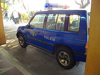 Public Security Police Force of Macau - A Suzuki Vitara with blue PSPF markings and emergency lights.