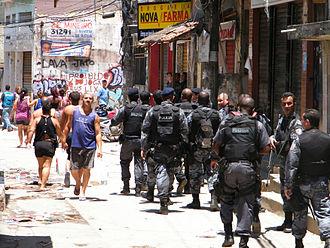 Complexo do Alemão - Police entering the Complexo do Alemao during the 2010 Rio de Janeiro Security Crisis