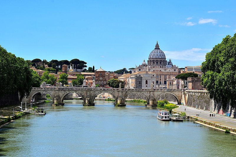 The Ponte Sant'Angelo with a view of St. Peter's Square and St. Peter's Basilica