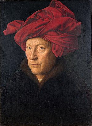 Ghent Altarpiece - Portrait of a Man (Self Portrait?), 1433. Jan van Eyck, National Gallery, London
