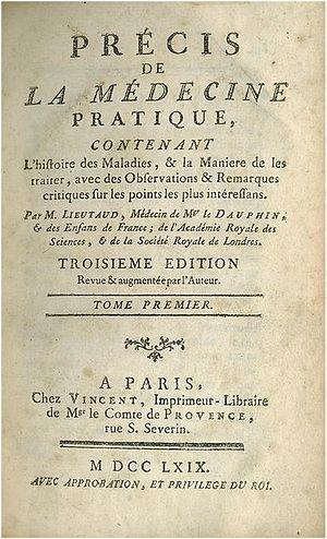 Joseph Lieutaud - First page of Précis de la médecine pratique.