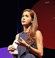 Praya Lundberg (ไปรยา ลุนด์เบิร์ก) Speaking at TEDx at NIST International School Bangkok.jpg