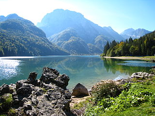 Lago del Predil lake in Northern Italy