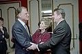President Ronald Reagan, Nancy Reagan, and Billy Graham at the National Prayer Breakfast.jpg