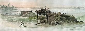 Colentina, Bucharest - A hut in the village of Colentina, 1869 watercolor by Amedeo Preziosi