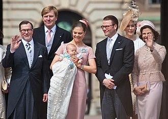 Princess Estelle, Duchess of Östergötland - Estelle with her parents, grandparents and godparents