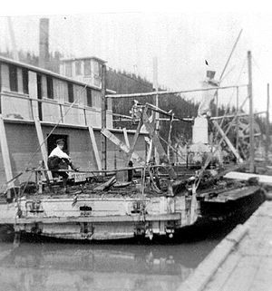 Ptarmigan (sternwheeler) - Ptarmigan after the fire in 1908. The vessel on the left may be ''Isabella McCormack'' which appears to have been the only other large steamer on the route in 1908
