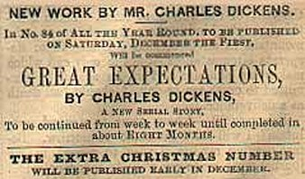 Advertisement for Great Expectations, serialised in the weekly literary magazine All the Year Round from December 1860 to August 1861 Publicite pour Great Expectations dans All the Year Round.jpeg