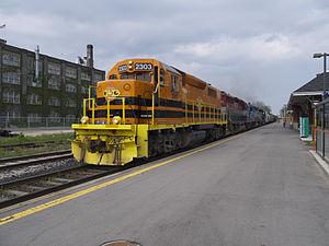 Quebec Gatineau Railway - QGRY locomotive passing through Kitchener railway station