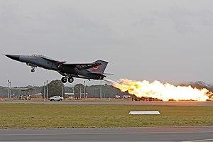Fuel dumping - RAAF F-111 performing a dump-and-burn.