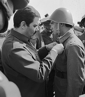 Democratic Republic of Afghanistan - Najibullah giving a decoration to a Soviet serviceman
