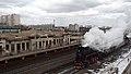 RZD Lv-0182 steam locomotive with retro-train. Moscow, Tsatitsino (27012652725).jpg