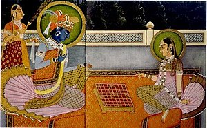 Chaturanga - Krishna and Radha playing chaturanga on an 8×8 ashtāpada