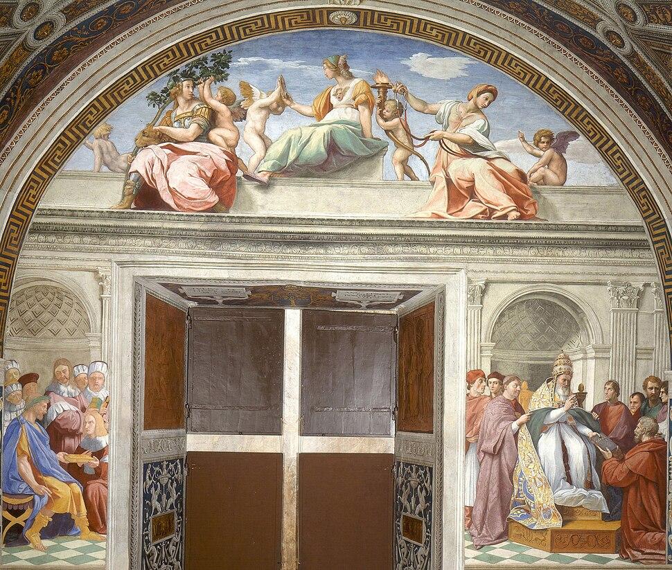 Rafael - Virtudes Teologales y la Ley (Estancia del Sello, Vaticano, 1511)