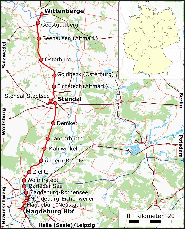 Verlauf A14 Stendal
