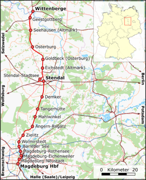 Magdeburg-Wittenberge railway - Route of the Magdeburg–Wittenberge railway