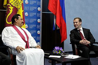 Foreign relations of Sri Lanka - President Mahinda Rajapaksa with Russian President Dmitry Medvedev, at St. Petersburg Economic Forum, in June 2011.