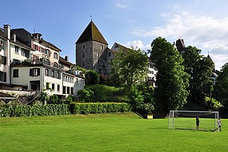 Stadtmuseum Rapperswil-Jona - Northeastern town walls, Breny tower and Breny house, as seen from lakeside Giessi