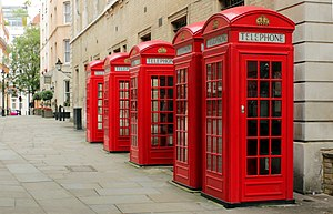Red telephone box - K2 kiosks on Broad Court, Covent Garden, London