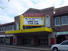 View of a movie theater marquee.