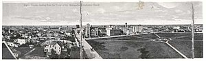 Knox-Metropolitan United Church (Regina, Saskatchewan) - The City ca. 1913-1914 as seen from the top of the Metropolitan Methodist Church. Knox Presbyterian is in the centre of the photograph, across Victoria Park, still lacking trees or substantial vegetation.