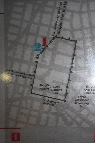 Sofia - A restored city plan of Roman Serdica under Marcus Aurelius (161–180)