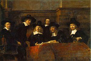 Οι σύνδικοι της συντεχνίας των υφασματεμπόρων, 1662, λάδι σε μουσαμά, 191,5x279 εκ., Άμστερνταμ, Ρέικσμουζεουμ