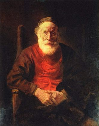 Low-key photography - An Old Man in Red, Rembrandt