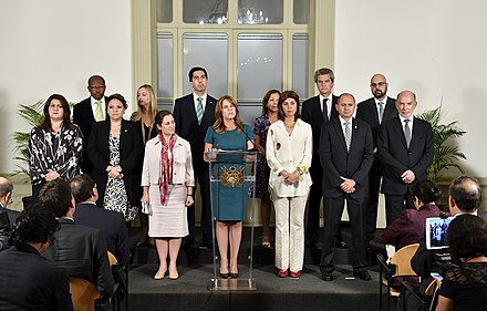 Foreign ministers representing member states of the Lima Group, with Peru taking a leadership role in the process. Representantes del Grupo de Lima.jpg