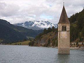 The bell-tower in Reschensee