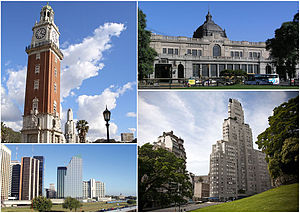 Retiro, Buenos Aires - Clockwise from top: The Monumental Tower, the Retiro Station, Catalinas Norte in the Central Business District and the Kavanagh Building with the San Martín Plaza.