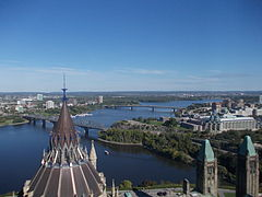 River Ottawa (view from the Peace Tower of Parliament Centre Block) 2.JPG