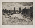 Robert Charles Goff (1837–1922), The Tower Bridge, etching, 1905.jpg