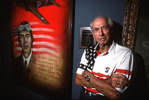 Robert Lee Scott Jr. - Scott with an oil painting of himself at the Museum of Aviation in Georgia (1994)