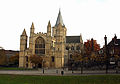 Rochester Cathedral from the Castle, The Romanesque Facade.jpg