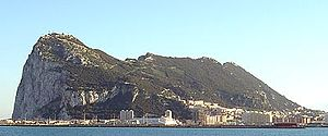 Picture of the West face of Gibraltar from a d...