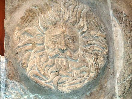 "The ""Gorgon"" head from the Temple Pediment Romanbathsgorgonhead.JPG"