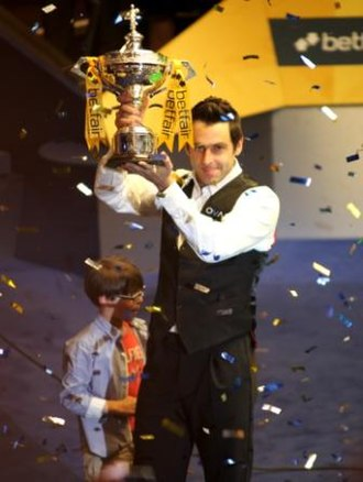 2013 World Snooker Championship - Ronnie O'Sullivan holding the trophy after the final