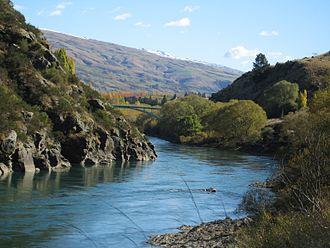 Roxburgh, New Zealand - View of the Clutha River towards Roxburgh Bridge.