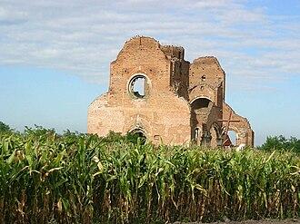 Novi Bečej - Ruins of the medieval Catholic church of Arača (Aracs) near Novi Bečej.