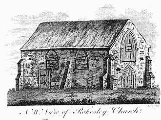 """Ruxley - """"N.W. view of Rokesley Church"""" Engraving of St Botolph's Church, Ruxley, appearing in The History and Topographical Survey of the County of Kent: Volume 2. by Edward Hasted"""